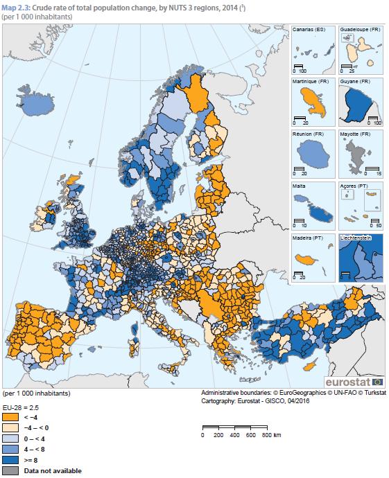 Crecimiento de la población en 2014