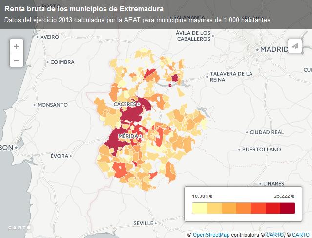 Mapa de renta municipal en Extremadura 2013